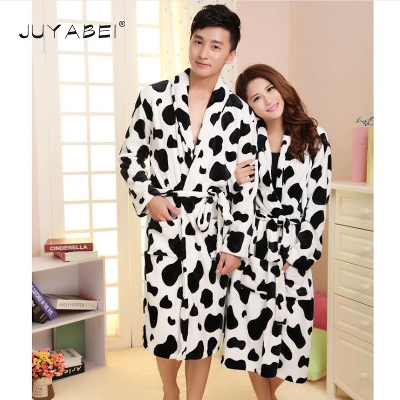 Black & White Cow Print Winter Autumn Flannel Men Bath Robes Belt Gentlemens Women Homewear Females Sleepwear Lounges Pajamas