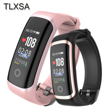 TLXSA mujer banda inteligente Fitness rastreador presión arterial Monitor de ritmo cardíaco pulsera inteligente IP67 resistente al agua para teléfono iOS Android