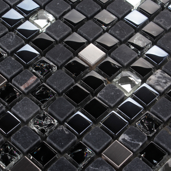 Sample Marble Black Gray Crystal Glass Mosaic Tile: Glass Stone Tiles Bend Marble Stainless Steel Crack Effect