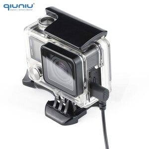 Image 2 - QIUNIU חיצוני מיקרופון מיקרופון + שקוף שלד שיכון מקרה עבור GoPro Hero 4 3 + 3 פעולה מצלמה עבור ללכת פרו אבזרים
