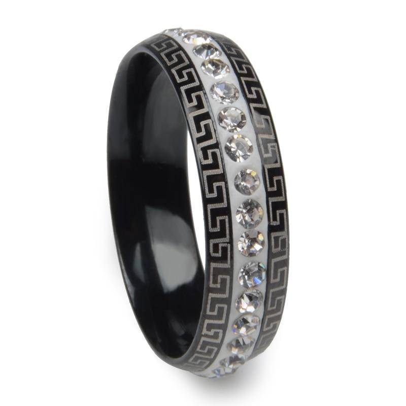 Crystal Ring Lovers 6mm Width Band Gold Color Full Finger Ring Men