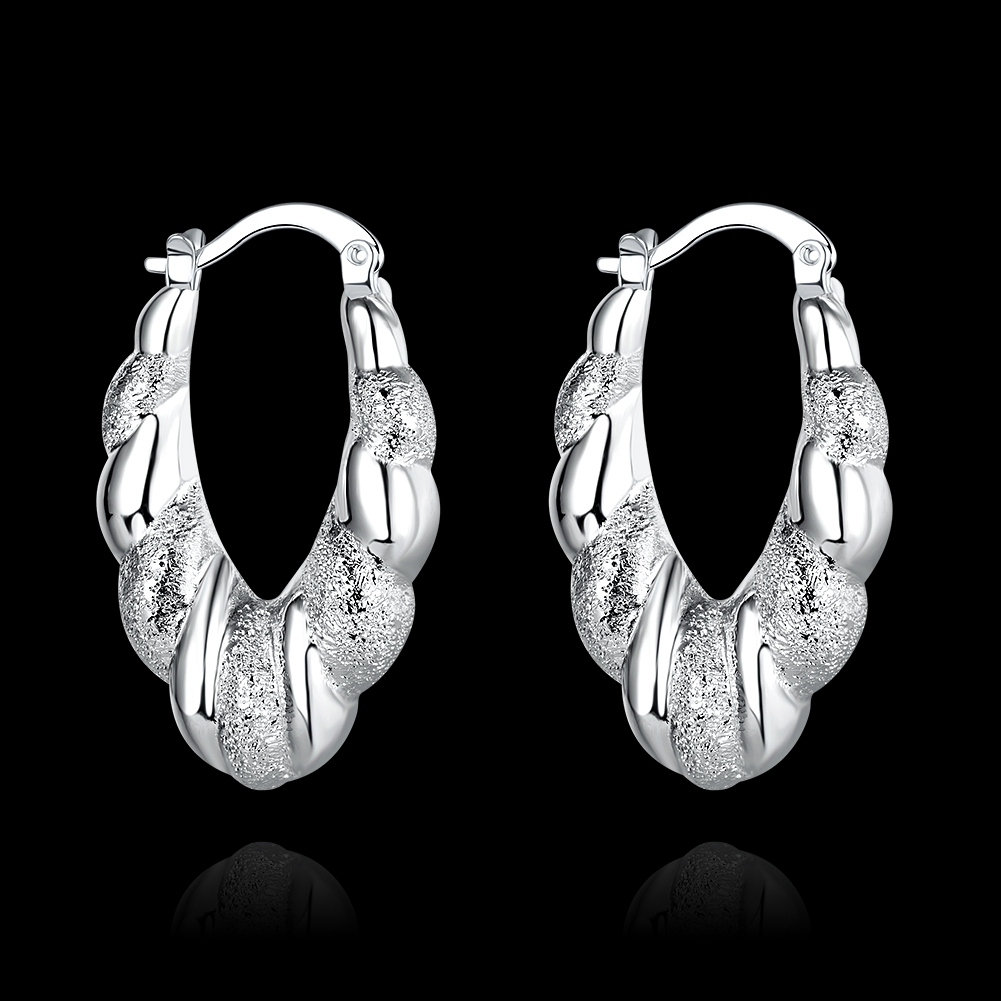 New Hot Sale Us Stylish Exaggerated Oval Loop Earrings 925 Sterling Silver  Fashion Woman Lady Hoop