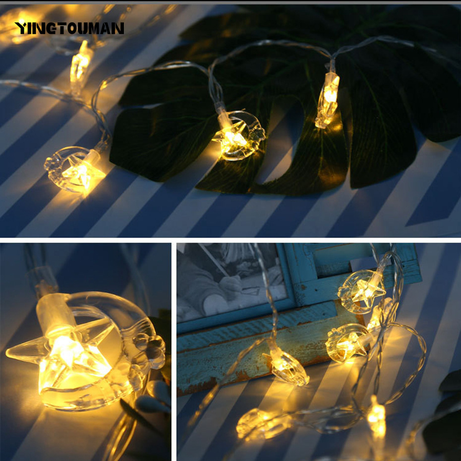 YINGTOUMAN 1.2m10LED Premium Quality Battey Star/Moon Lamp Christmas Lights Fairy String Lights For Outdoor Garden
