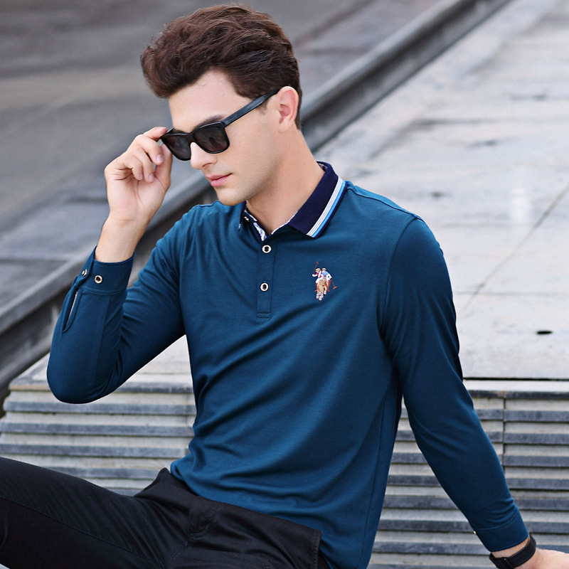 New Arrival High Quality 2018 Spring Men Casual Cotton   Polo   Shirt Male Classic Long sleeve Tops Tee Clothing men 17630