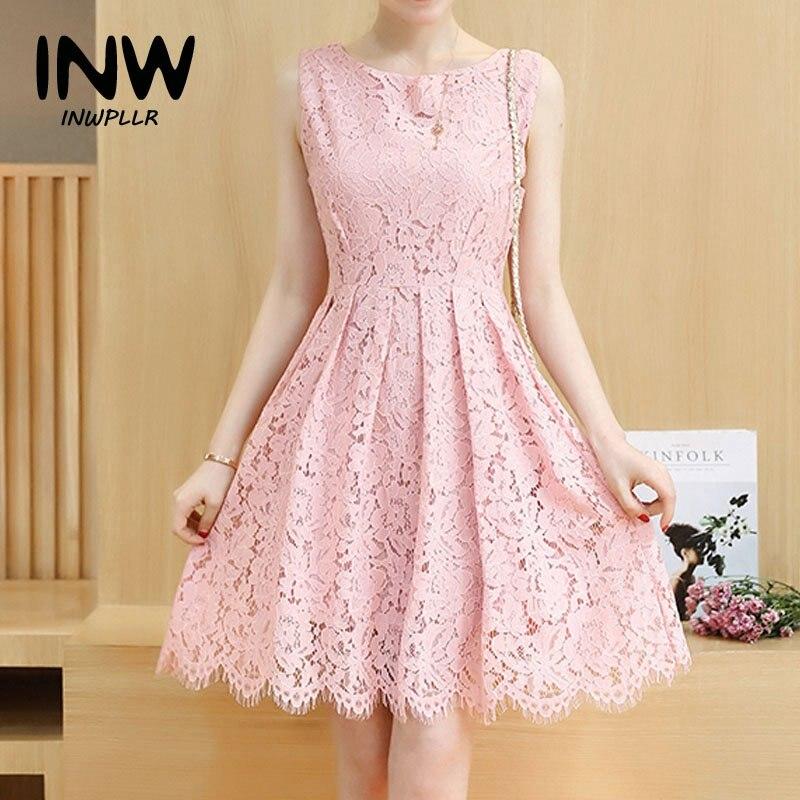 Nuevo 2017 para mujer vestidos de verano de color rosa de encaje ...