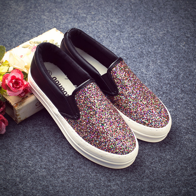 Womens Ladies Glitter Platform Slip On Flats Loafers Sneakers Casual Shoes Hot