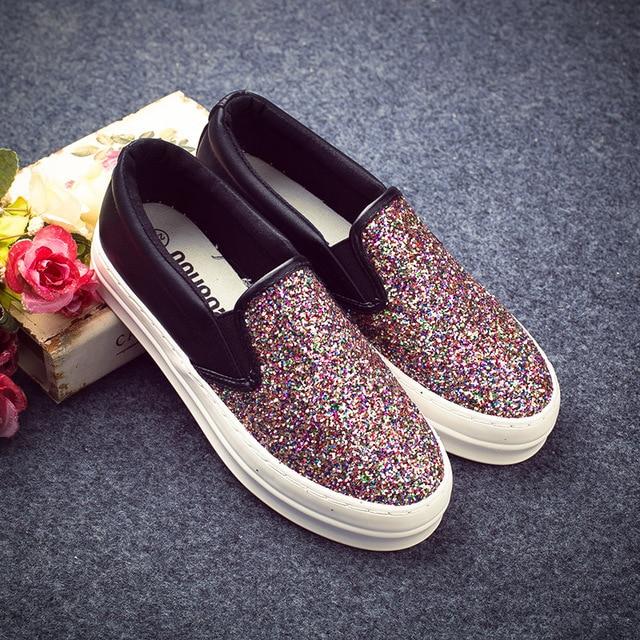 Hot sale women loafers platform bling flat casual shoes walk slip on canvas shoes  glitter flat shoes women mocassins size 35-39 e213a9e25