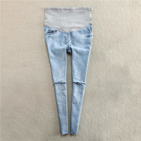 Maternity Pants Summer Jeans Pregnancy Clothes For Pregnant Women Ripped Denim Prop Belly Legging Clothing Trousers Overalls