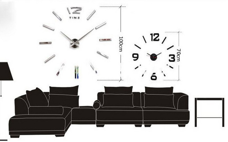 3d real big wall clock rushed mirror sticker diy living room decor free shipping fashion watches 16 new arrival Quartz clocks 11