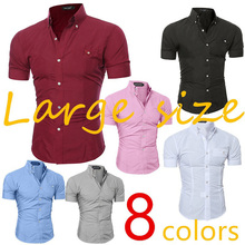 ZOGAA 2019 New Mens Shirts Summer Short Shirt Smart Casual Cotton Pure Color Turn-down Collar Fashion White