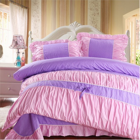 purple pink polka dot girls bedding comforter sets100 cotton king queen full size 4pc sweet bow. Black Bedroom Furniture Sets. Home Design Ideas
