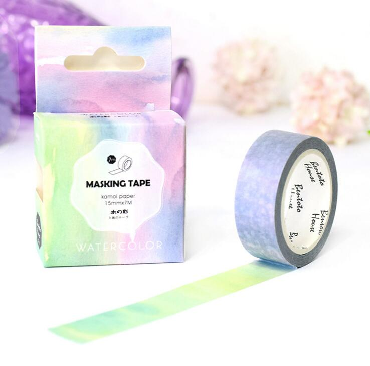 JA211 The Fancy Color of Water Decorative Washi Tape DIY Scrapbooking Masking Tape School Office Supply Escolar Papelaria the stripes of gradient color decorative washi tape diy scrapbooking masking tape school office supply escolar papelaria
