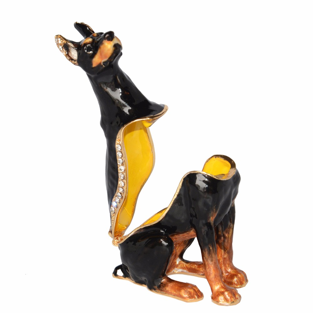 Sergeant Doberman Dog Bejeweled Hinged Trinket Box Lover Collection Gift Miniature Sculpture Birthday In Jewelry Packaging Display From
