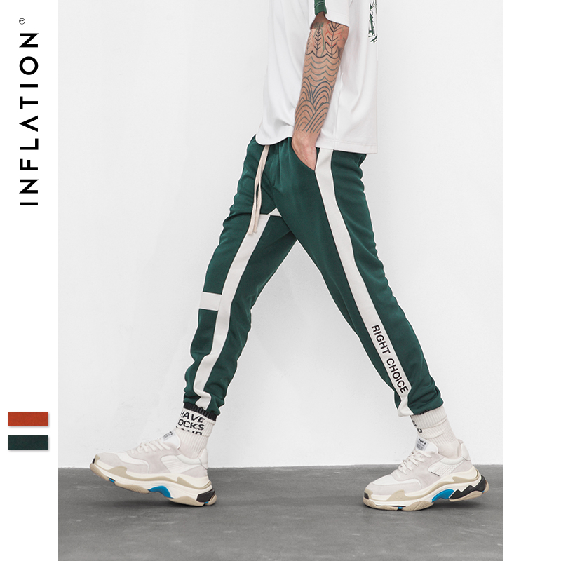 INFLATION Right Choice Side Letter Print Vintage Sweatpants Retro Trousers Men Track Pants Men Women Ins Fashion Pants 8841W