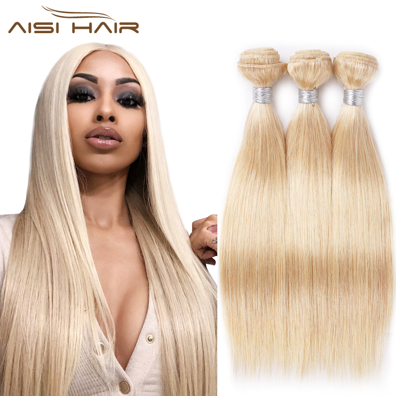AISI Brazilian Straight Hair Weave Bundles 613 Blonde Hair 3 Bundles Honey Blonde Straight Human Hair Extensions 10-24 Inches