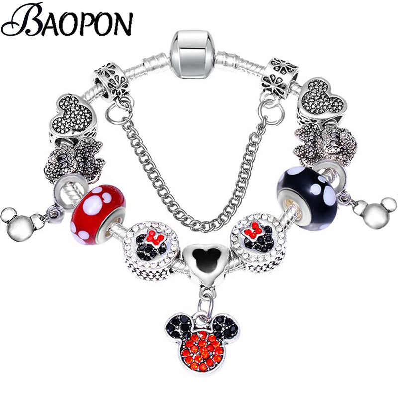 e0fd69a91 BAOPON Dropshipping Catoon Style Mickey Pendant Charm Bracelet With Murano  Glass Beads Pandora Bracelets for Child