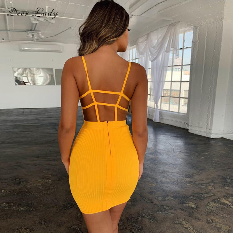 Deer Lady Summer Bandage Dress 2019 New Arrivals Cut Out Sexy Bandage Dress Backless Mini Women Orange Bodycon Dress Party Club