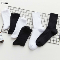 Male Trend Stockings Korean Street Skate In Socks Solid Color Cotton Socks White Socks Male Black