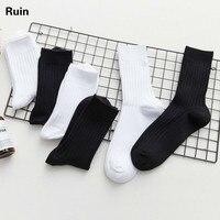 Male Trend Stockings Korean Street Skate In Socks Solid Color Cotton Socks White Socks Male Black