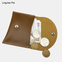 LingJiao Pai Creative Vintage Unisex Mini Coin Purse Crazy Horse Cowhide Leather Small Pocket Handmade Retro