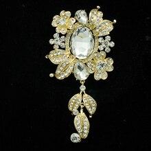 Chic Rhinestone Crystal Flower Leaf Brooch Broach Pin Pendant Wedding Bridal Women Jewelry 4864