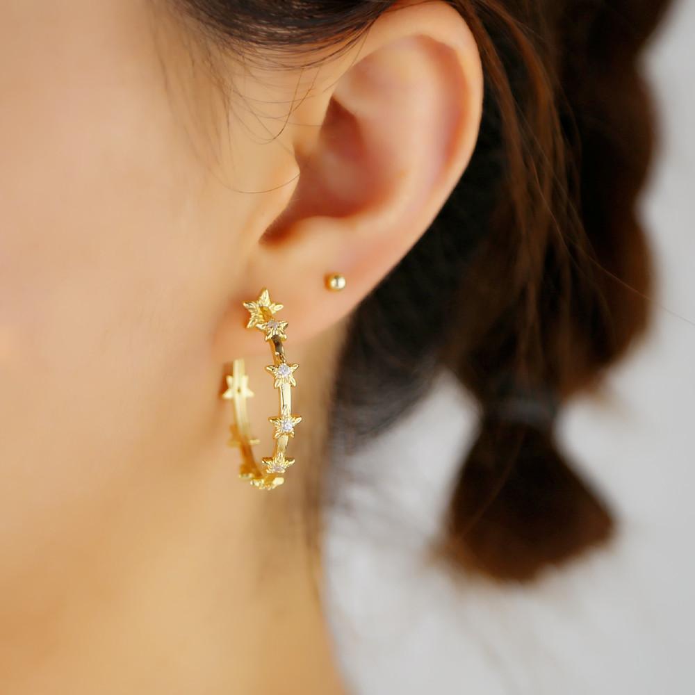 2019 Gold Filled Sparking Cz Star Circle Full Stone Hoop Earring For Women Lady Classic Trendy Engagement Fashion Boho Jewelry