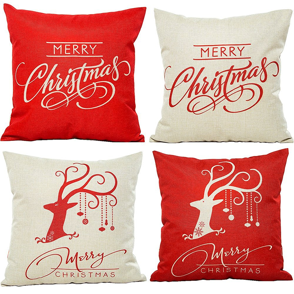online get cheap red throw pillows aliexpresscom  alibaba group - cammitever merry christmas cotton linen square decorative throw pillow casecushion cover deer red cushions(