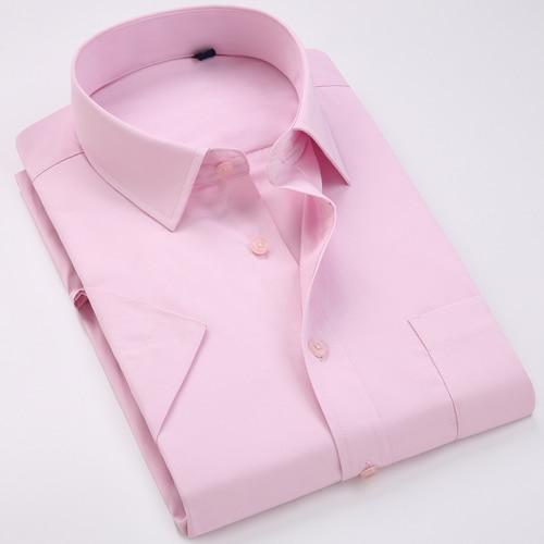 Men's Regular-fit Summer Short Sleeve Solid Classic Shirt Single Patch Pocket Formal Business Work Office Basic Dress Shirts 20