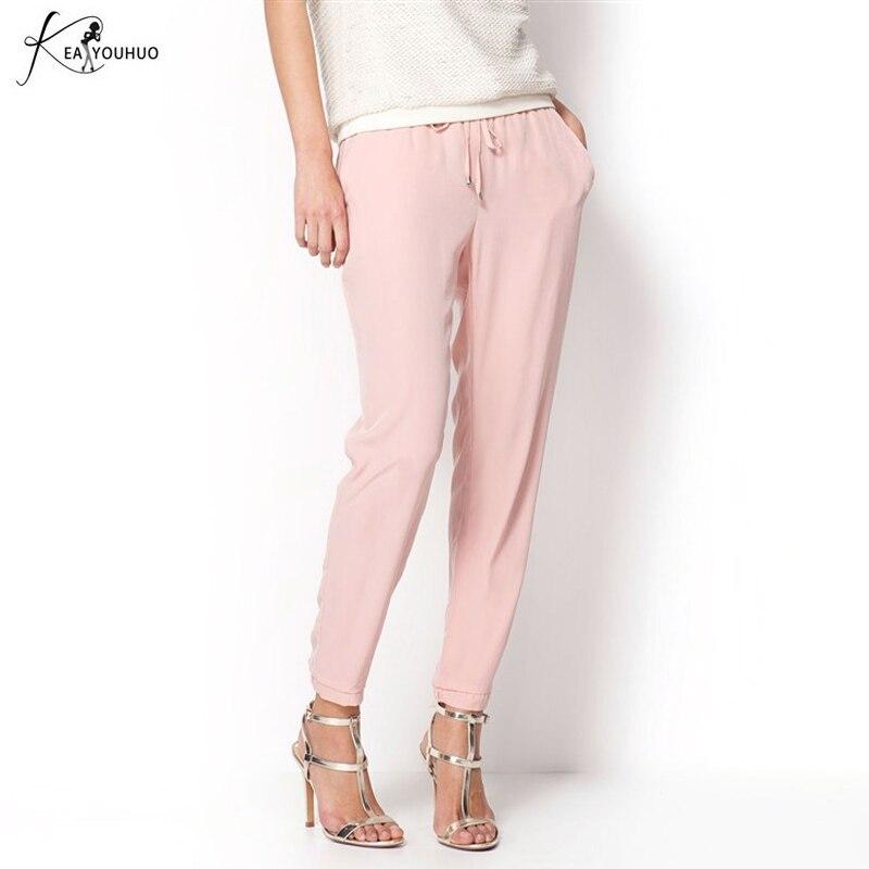 2018 Trousers Summer Ladies OL Chiffon High Waist Harem Pants Women Casual Loose Palazzo Pants Female Pink Black Pantalon Femme