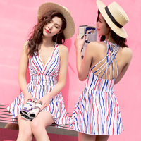 Summer New Net Rope Skirt Style Flat Pants One Piece Swimsuit Sexy Deep V Blue And
