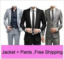 Free Shipping Slim Custom Fit Tuxedo Bridegroon Men Business Dress Blazer Suits,Fashion Suit Blazer,XS-3XL 5 Colors Jacket+Pants