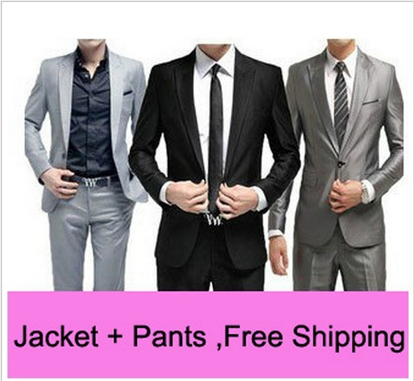 Livre Magro Envio Custom Fit Tuxedo Bridegroon Vestido de Negócios Ternos Blazer Dos Homens, Terno Da Moda Blazer, XS-3XL 5 Cores Jacket + Pants