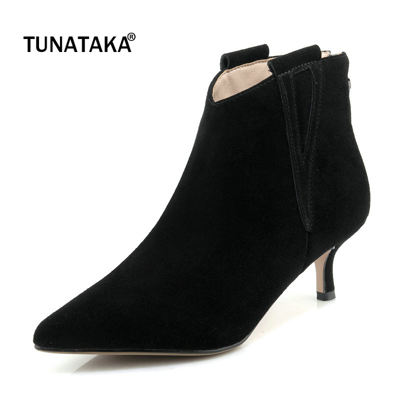Suede Comfort Thin Heel Pointed Toe Woman Ankle Boots Fashion Back Zipper Dress Boots Woman Black Brown
