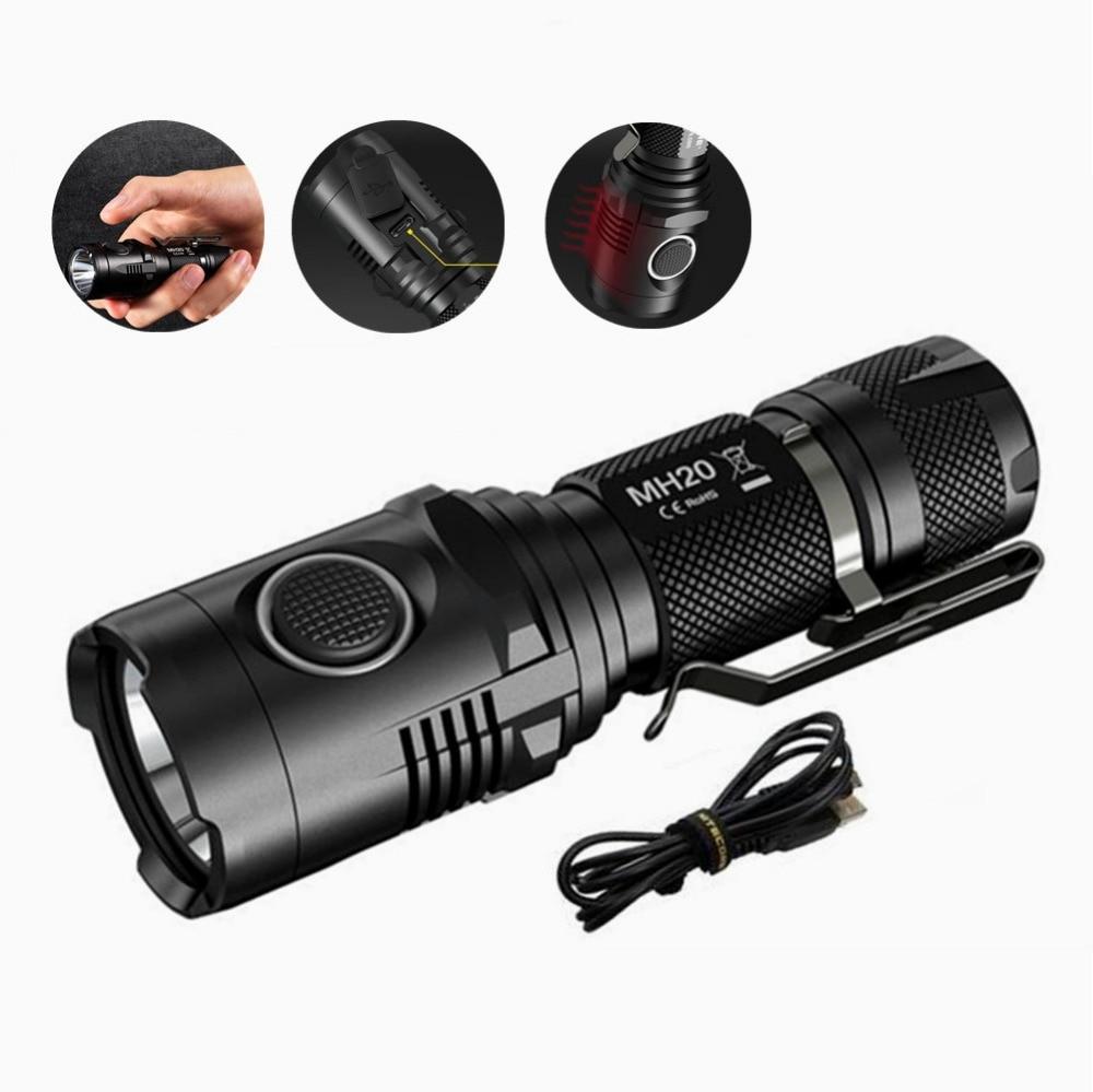 Nitecore MH20 MH20W Portable Flashlight Cree XM-L2 1000 Lumens USB Charging Smallest Lightest 1* 18650 Camping Hand Light jm pj7002 outdoor camping flashlight 200 lumens