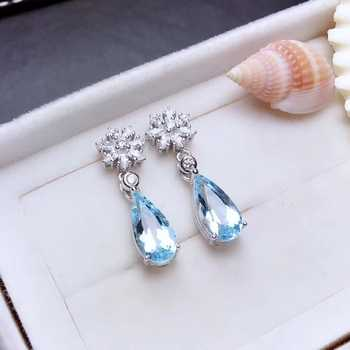 natural blue topaz drop earrings 925 silver natural gemstone earrings women Elegant lovely snowflake water drop woman party gift - DISCOUNT ITEM  17% OFF All Category