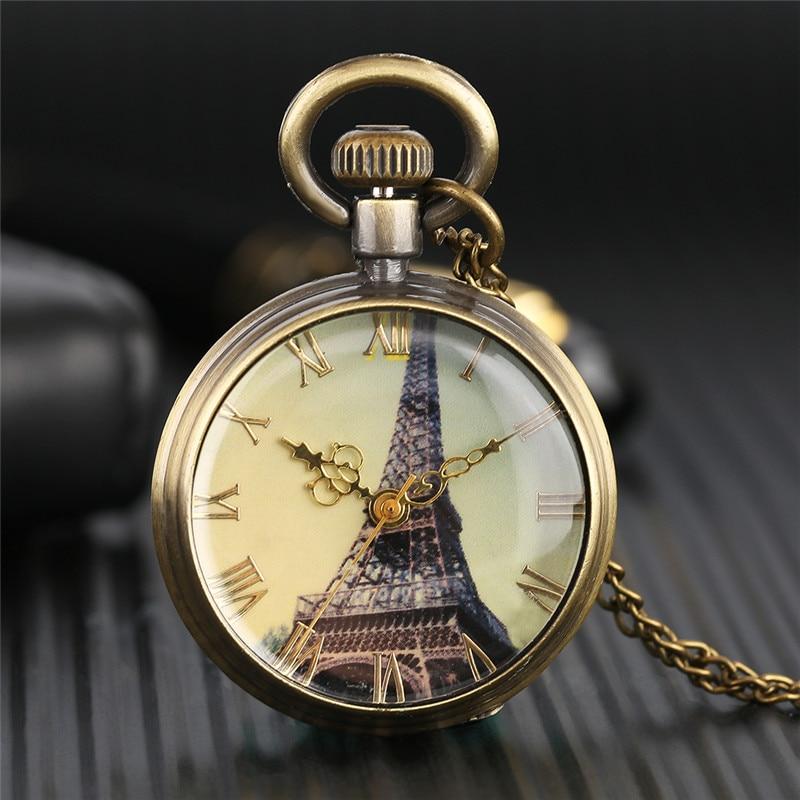 Vintage Pocket Watch Retro Paris Eiffel Tower Dial Slim Necklace Elegant Women Ladies Pendant Clock Best Gifts For Girlfriends