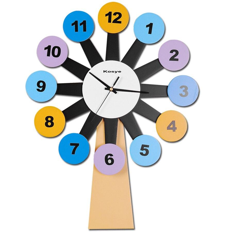 Horloge de chambre Sticker Mural numérique moderne en bois Horloge murale arbre montres horloges Duvar Saati Vintage Horloge murale en bois 60A96
