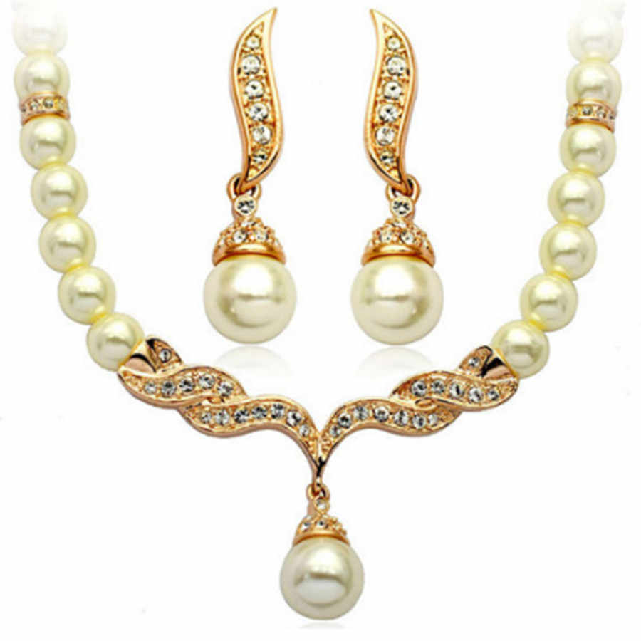 2019 Nigerian Beads Wedding Jewelry Set ABS Simulated-pearl Full Rhinestone Necklace Earrings Set Turkish Jewelry Party