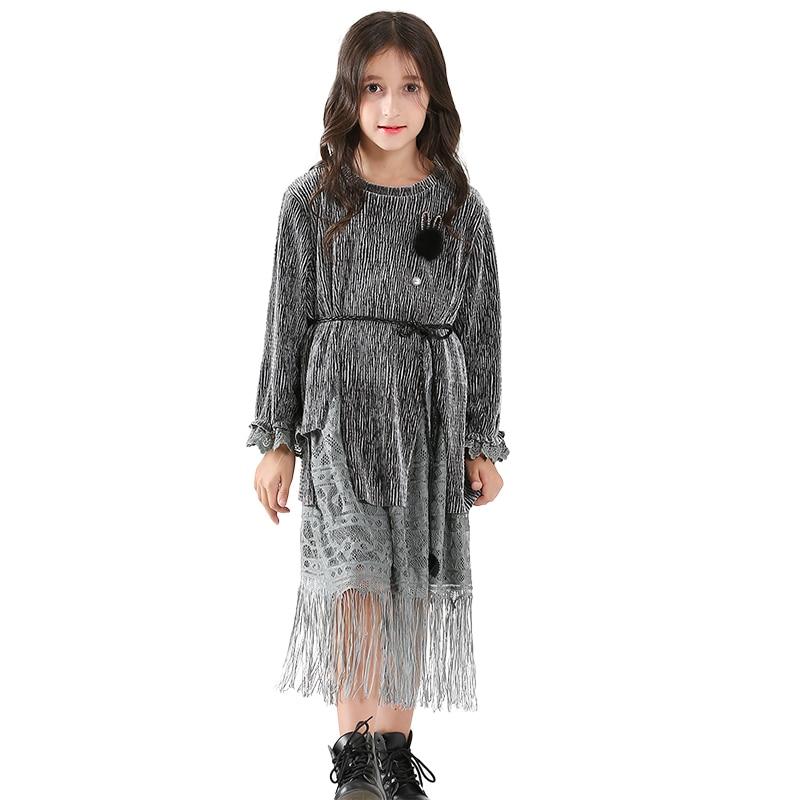 Filles soirée robe longue Style gland Design Shinning Hairball argent velours ceinture pour Age56789 10 11 12 13 14 ans - 5