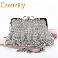 Crystal Evening Bag Clutch Bags Clutches Wedding Purse Rhinestones Wedding Handbags Silver/Gold/Black Evening Bag
