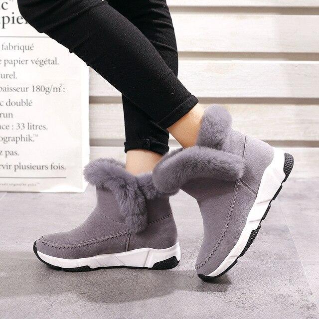 87f09fc35af4 2019 Winter Faux Fur Women Shoes Woman Snow Boots Ankle Warm Platform Wedge  Fashion Femme Ladies Boot Black Footwear623