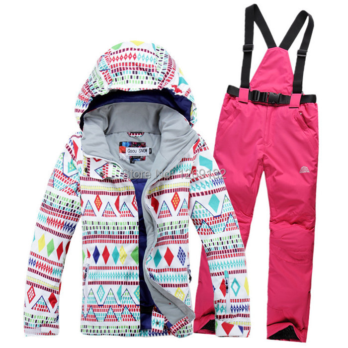 Prix pour Livraison gratuite vente Chaude lady géométrique forme snowboard ski costume veste vêtements ensembles pantalon coupe-vent imperméable à l'eau