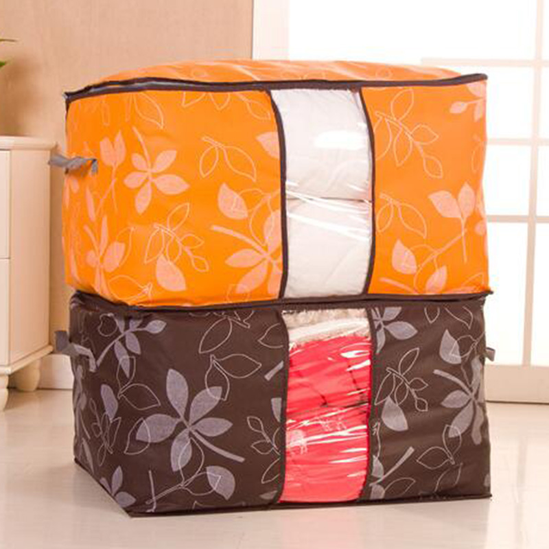 2pcs Storage Bag Bedding Clothes Packing Colorful Leaf Quilt Durable Waterproof Thickened Window Bag Organizer Home Supplies