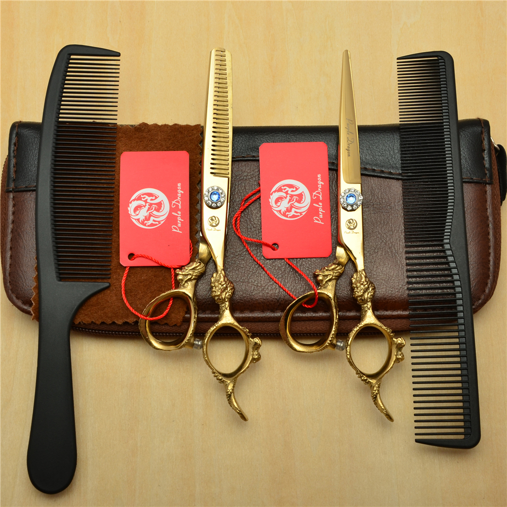 4Pcs/Set 6 Golden 440C Professional Human Hair Hairdressing Scissors Combs + Cutting + Thinning Shears Big Dragon Handle Z90044Pcs/Set 6 Golden 440C Professional Human Hair Hairdressing Scissors Combs + Cutting + Thinning Shears Big Dragon Handle Z9004