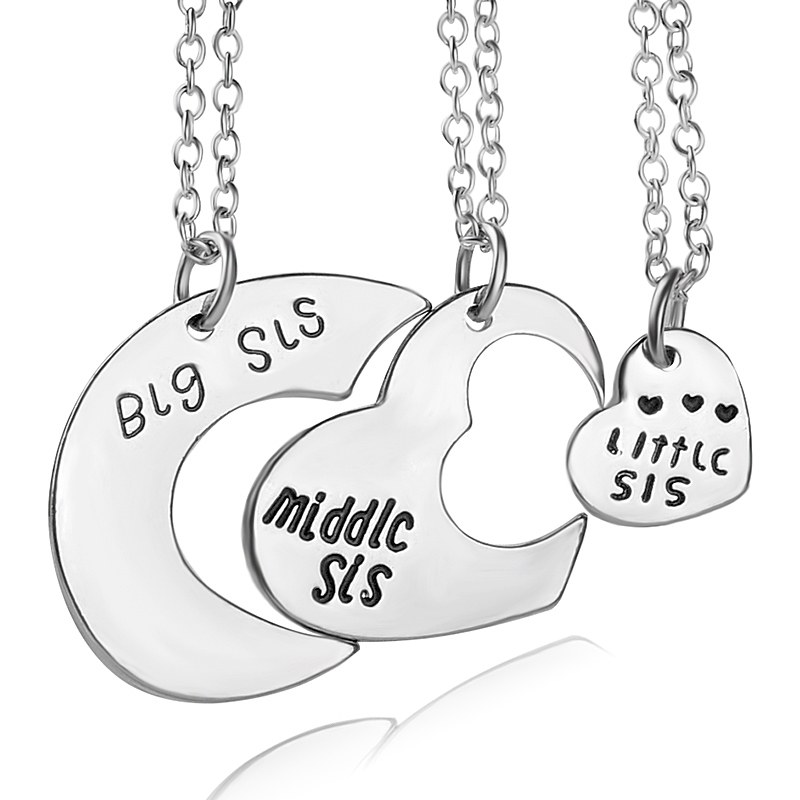 Collana Best Friends per 3 Big Sister Sis Middle Sister Sis Little Sister Collana con ciondolo a forma di cuore
