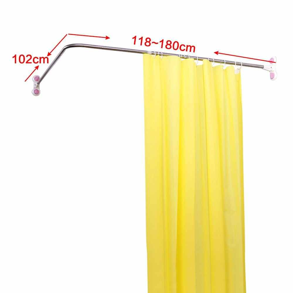 L-Shaped Shower Curtain Rod Suction Cups Corner Bathroom Curtain Rail Bar Expandable 40.15'' x (46.46''-70.87'') DQ1615-3