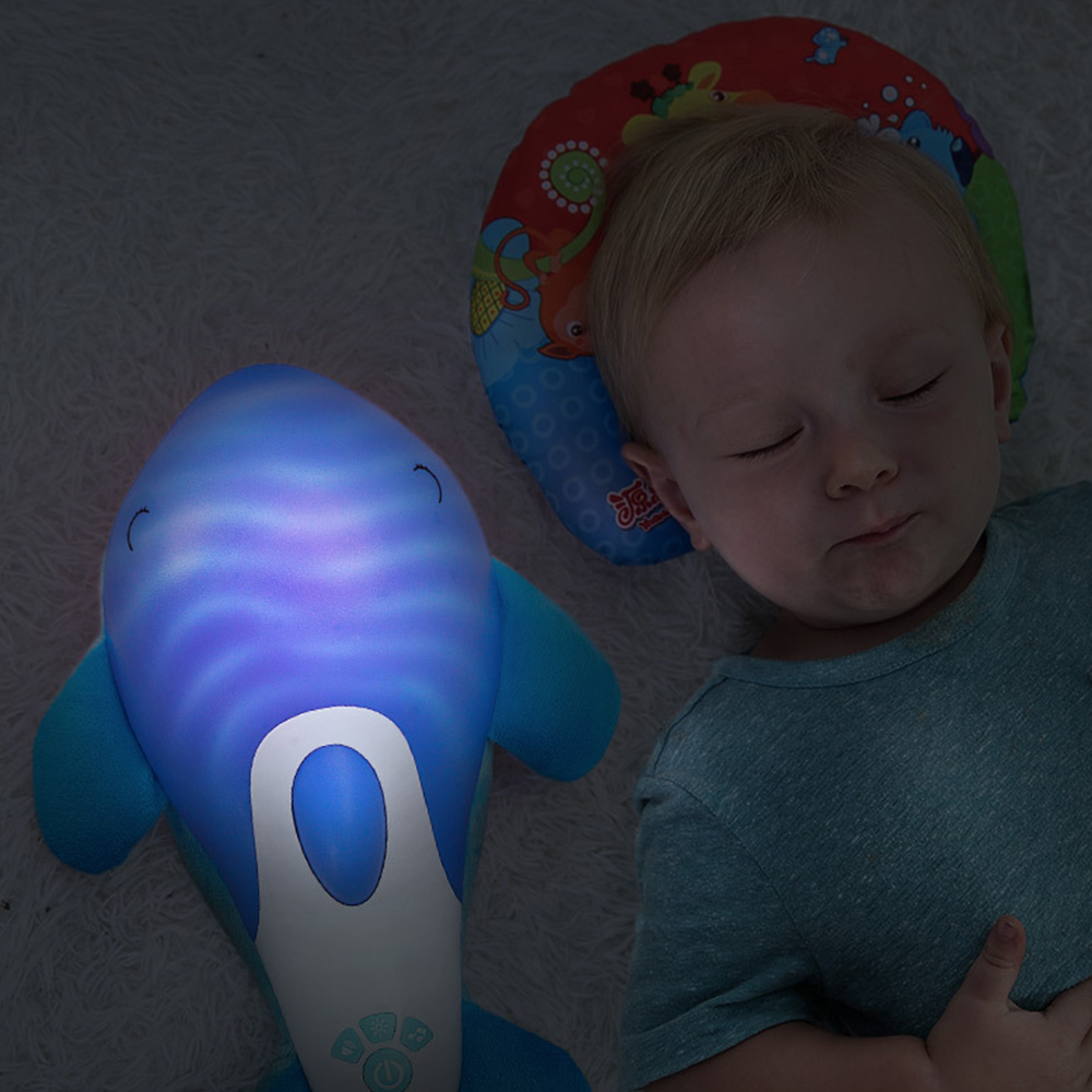 Baby Plush Soothe Toy Hypnotic Sound and Light Dolphin Appease Doll Parent-Child Infant Early Education Music Baby Sleeping Toys все цены