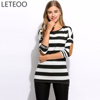 Long Sleeve Black And White Striped T Shirts Women Spring Summer 2017 Fashion Elbow T Shirt