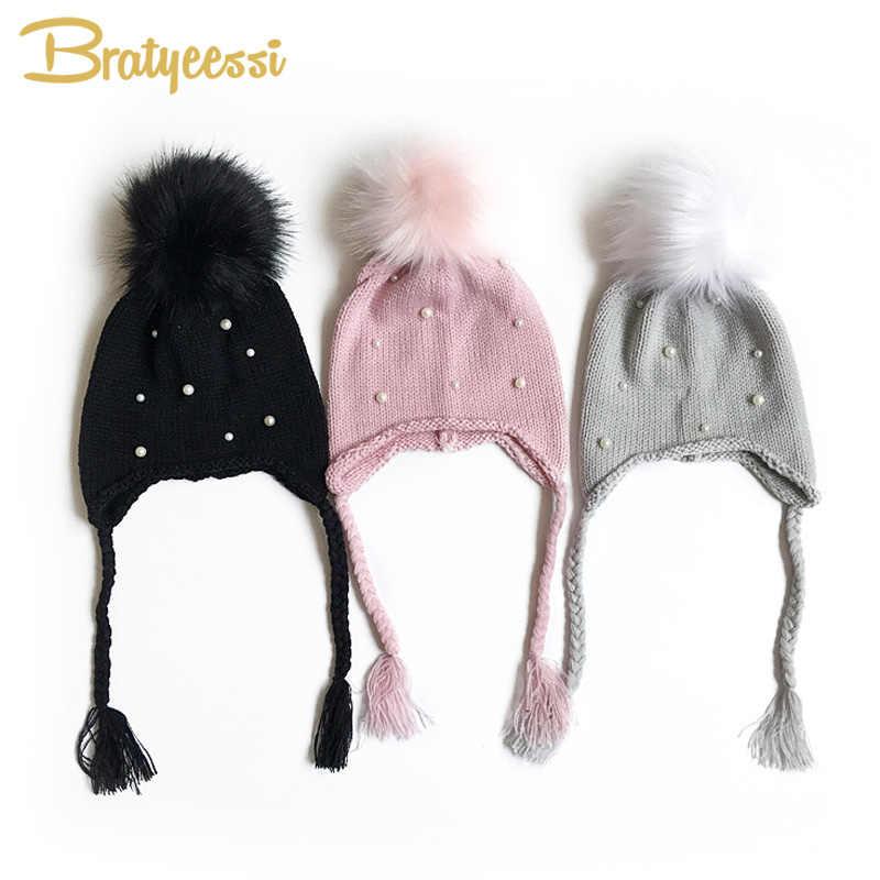 d4615c36b Fashion Pearls Baby Winter Hat Pom Pom Knitted Newborn Bonnet Enfant Baby  Hats for Girls Cap 1 PC