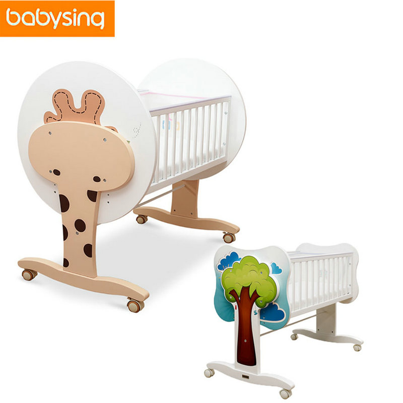 100% New Zealand Pine Cartoon Newborn Baby Solid Crib Baby Cradle Crib Rocking Bed Bedding Set Baby Bed Wooden Crib 0~5 Months 2017 new babyruler portable baby cradle newborn light music rocking chair kid game swing